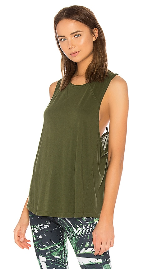 Beyond Yoga Super Slick Drop Arm Tank in Green