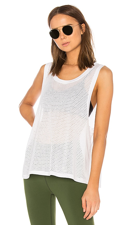 Beyond Yoga Mesh Me Up Muscle Tank in White