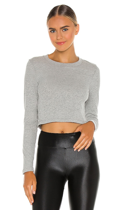 Beyond Yoga Keep in Line Cropped Pullover in Light Grey.