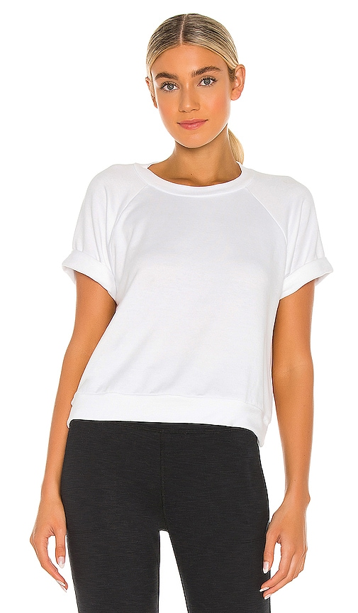 Beyond Yoga Solid Choice Short Sleeve Pullover Top in White.
