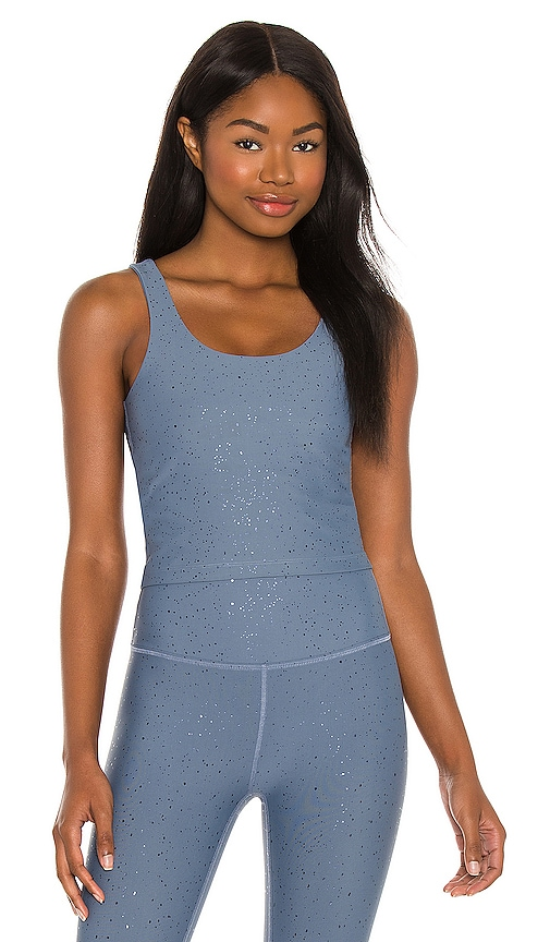 Beyond Yoga Alloy Sparkle Keep it Simple Cropped Tank in Blue.