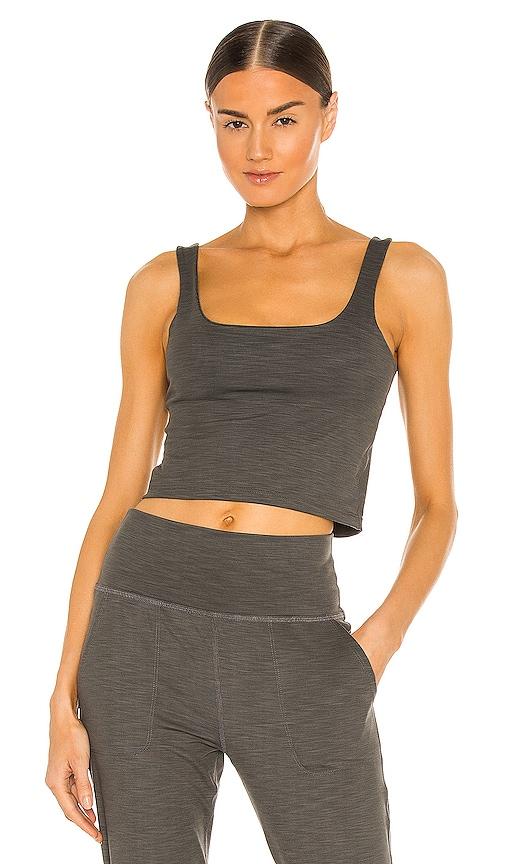 Beyond Yoga Keep It Simple Cropped Tank in Grey.