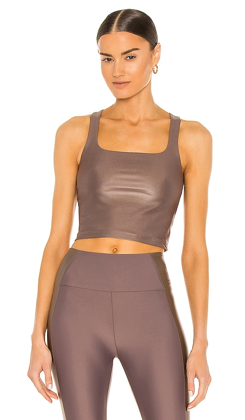 Beyond Yoga Square Neck Cropped Tank in Brown.