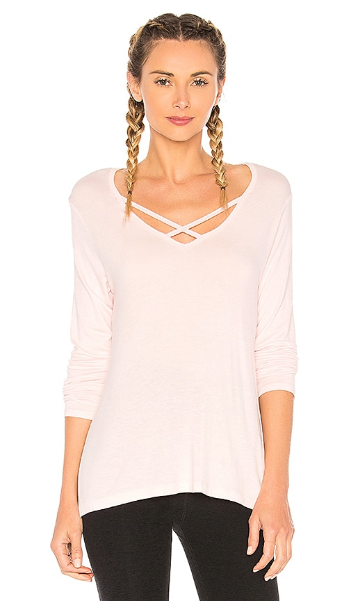 Beyond Yoga Cross Me Once Pullover Top in Pink