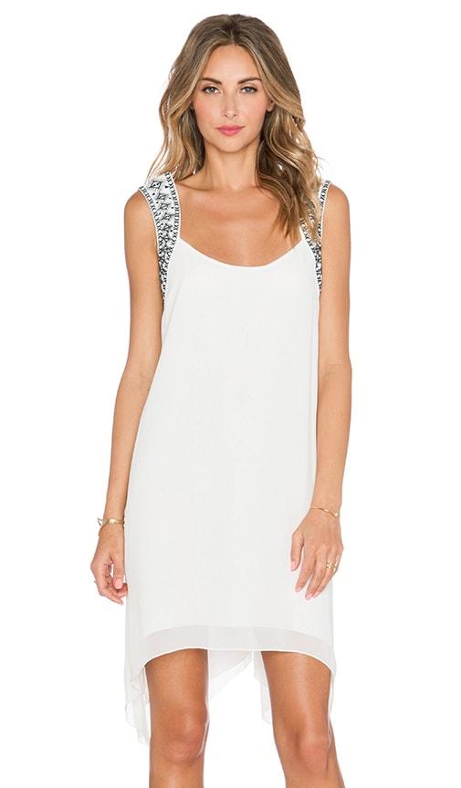BCBGeneration Embroidered Yoke Dress in Whisper White Combo