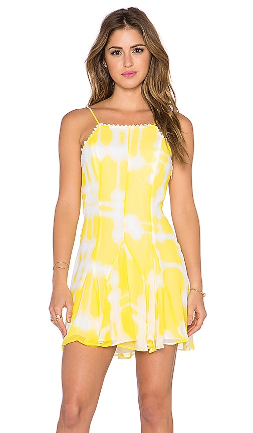 BCBGeneration Godet Slip Dress in Sunbeam Combo