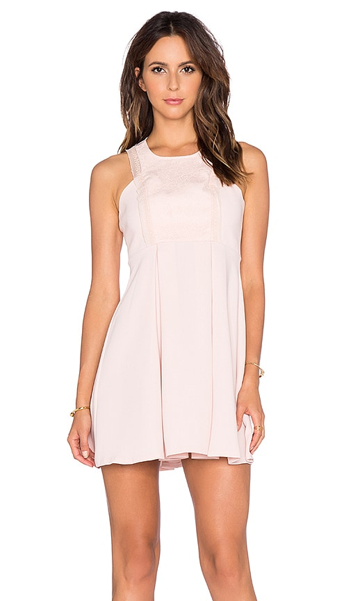 BCBGeneration Lace Fit & Flare Dress in Rose Smoke