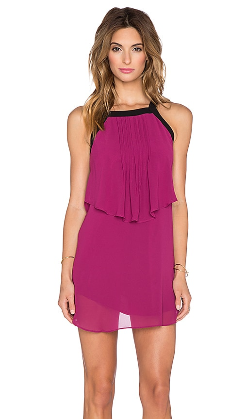 BCBGeneration Ruffle Halter Dress in Crushed Berry