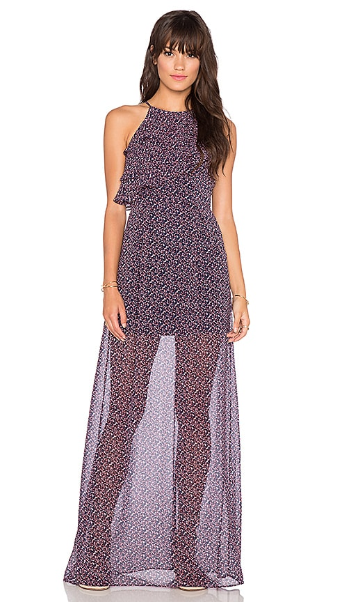 BCBGeneration Tiered Ruffle Maxi Dress in Navy Sea Multi