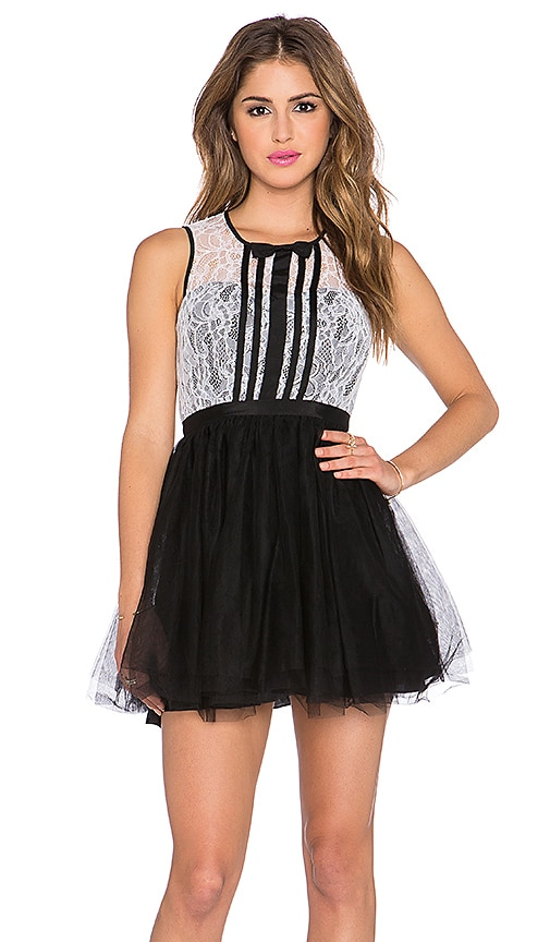 BCBGeneration Lace Fit & Flare Dress in Black