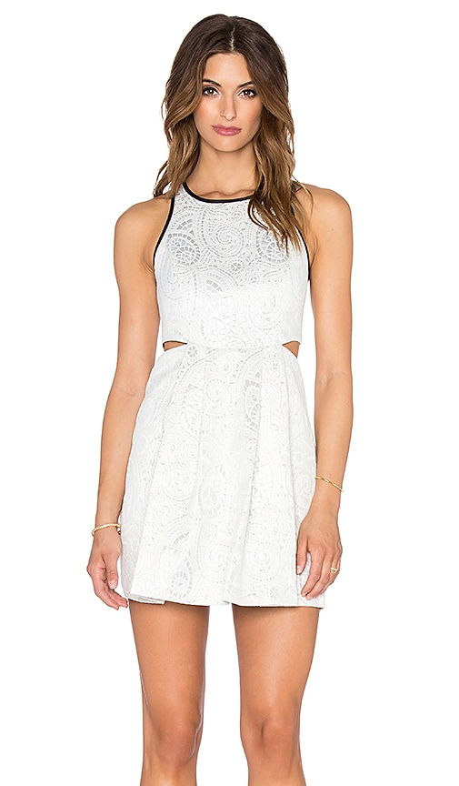 BCBGeneration Cut Out Mini Dress in Whisper White Combo