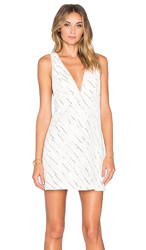 BCBGeneration V-Neck A-Line Dress in White