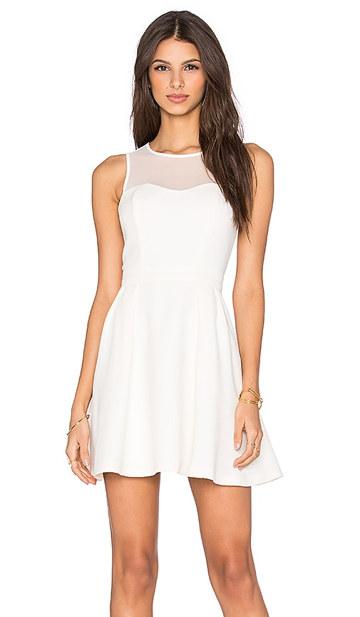 BCBGeneration Mesh Skater Dress in Ivory