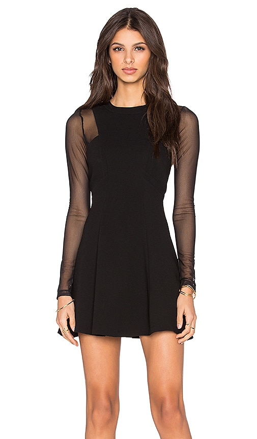 BCBGeneration Long Sleeve Skater Dress in Black