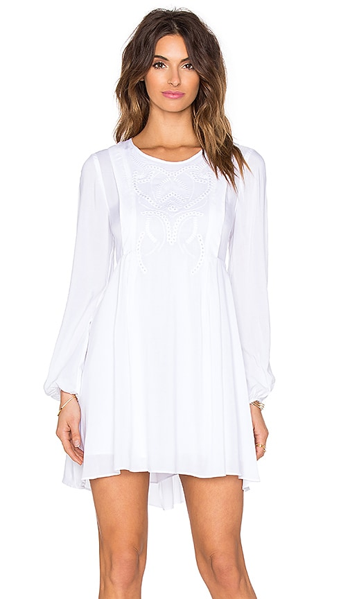 BCBGeneration Long Sleeve Mini Dress in Optic White