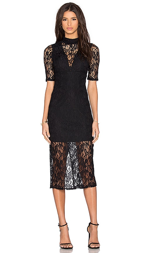 BCBGeneration Lace Midi Dress in Black