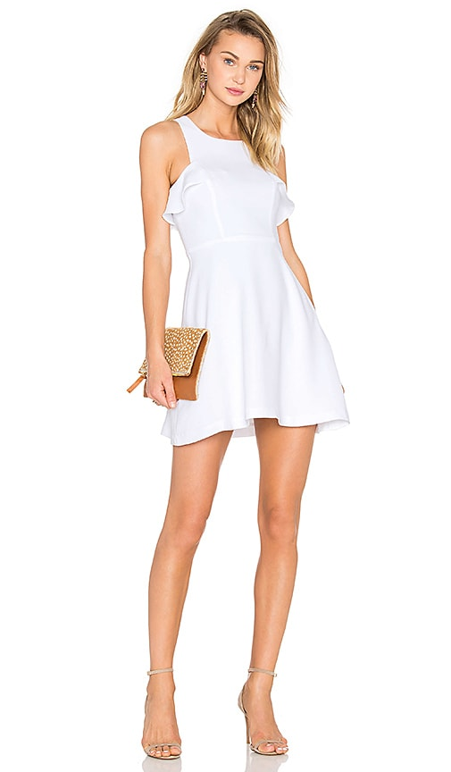 BCBGeneration High Neck Ruffled Dress in Optic White