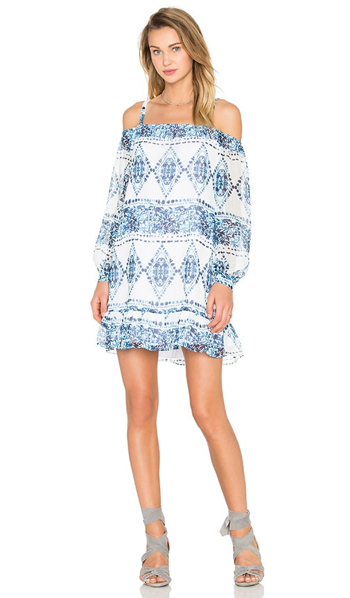 BCBGeneration Cold Shoulder Halter Dress in Blue