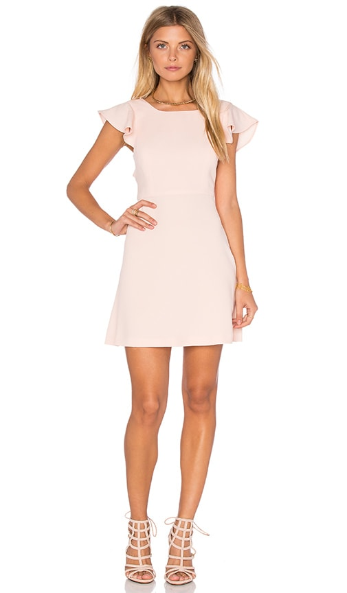 BCBGeneration Ruffle Open Back Dress in Peach