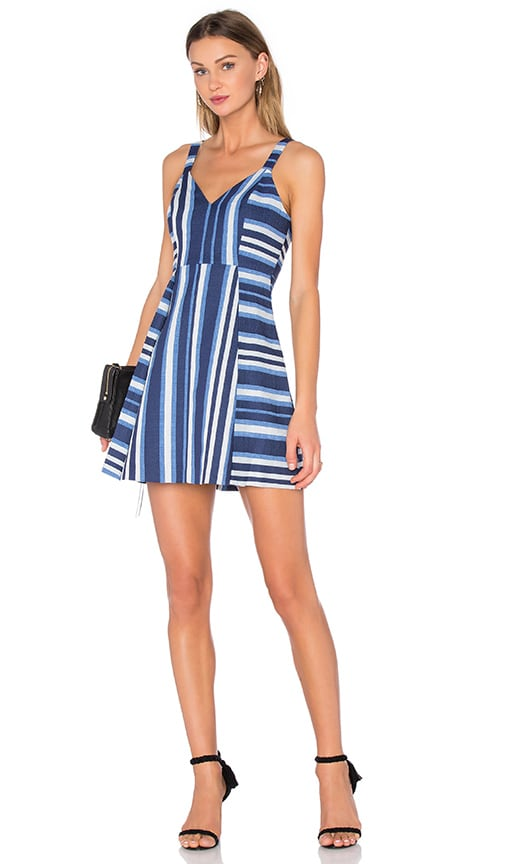 BCBGeneration Cocktail Striped V Neck Dress in Blue