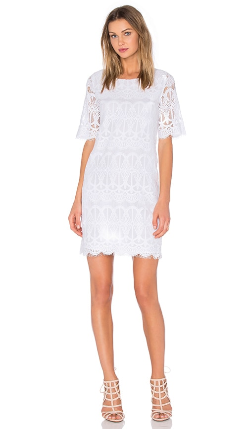 BCBGeneration Cocktail Lace Dress in Optic White