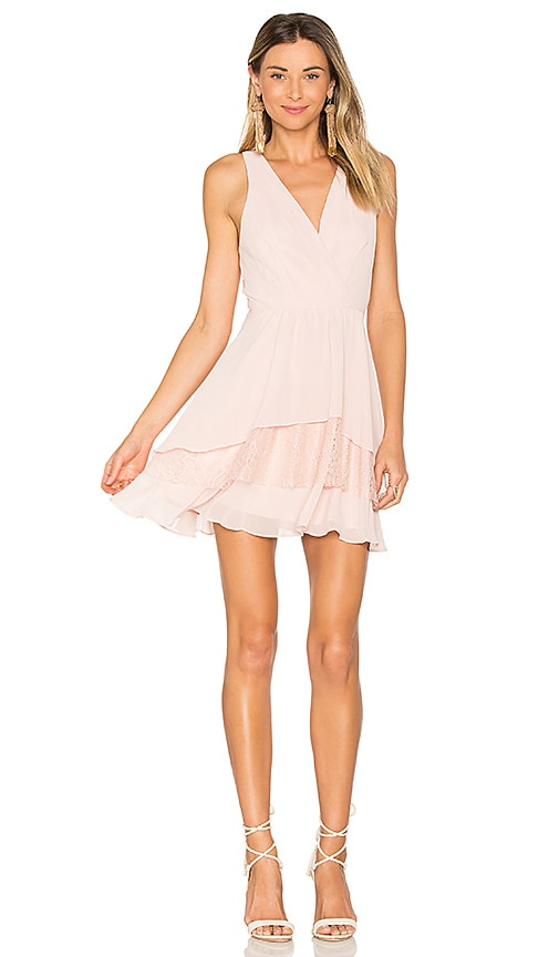 BCBGeneration Surplice Ruffle Dress in Pink