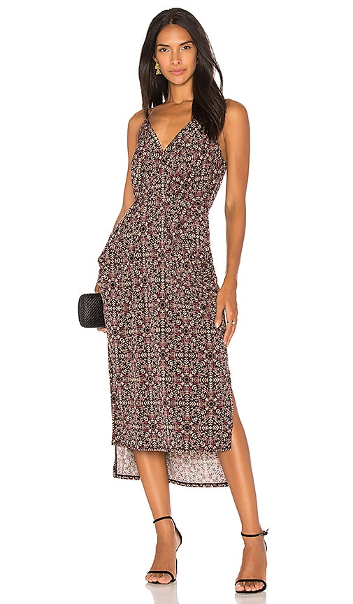 BCBGeneration Midi Faux Wrap Dress In Black Olive