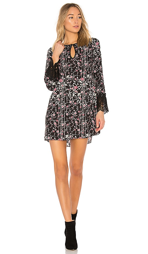 BCBGeneration Shirt Dress With Lace Trim In Black Combo