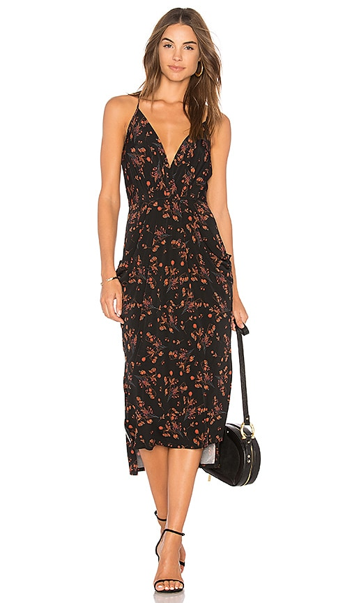 BCBGeneration Midi Faux Wrap Dress In Black Multi