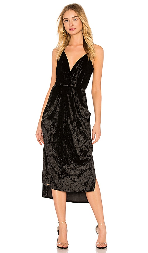 Midi Faux Wrap Dress In Black