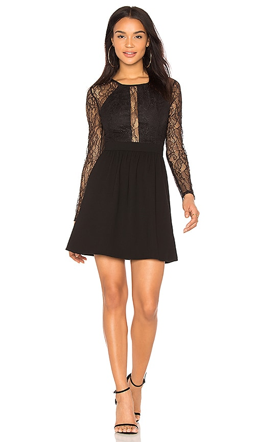 BCBGeneration Lace Trimmed Dress in Black