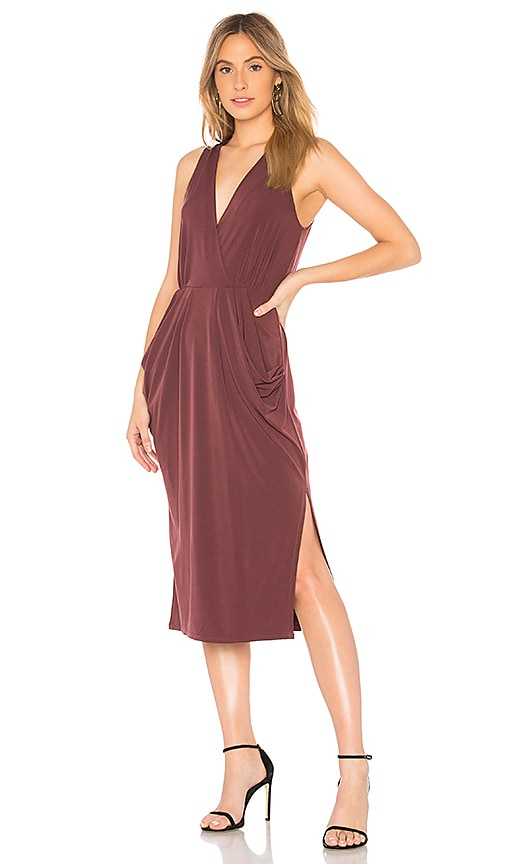 BCBGeneration Deep Draped Dress in Burgundy