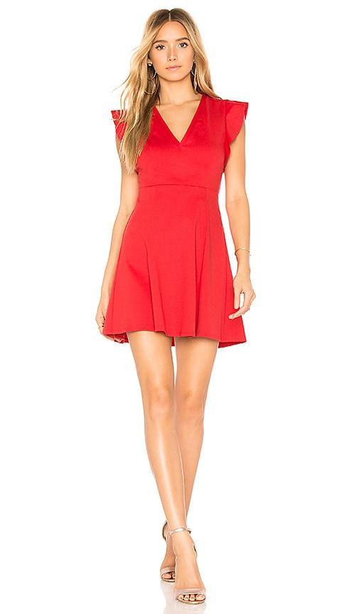 BCBGeneration Flutter Sleeve V Neck Dress in Red