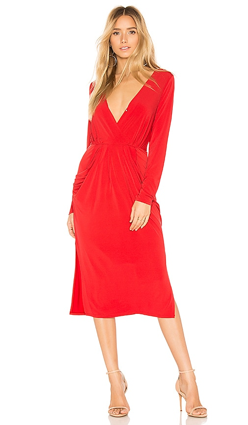 BCBGeneration Deep V Neck Drapey Pocket Dress in Red