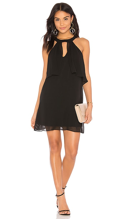 BCBGeneration Mock Neck Ruffle Dress in Black