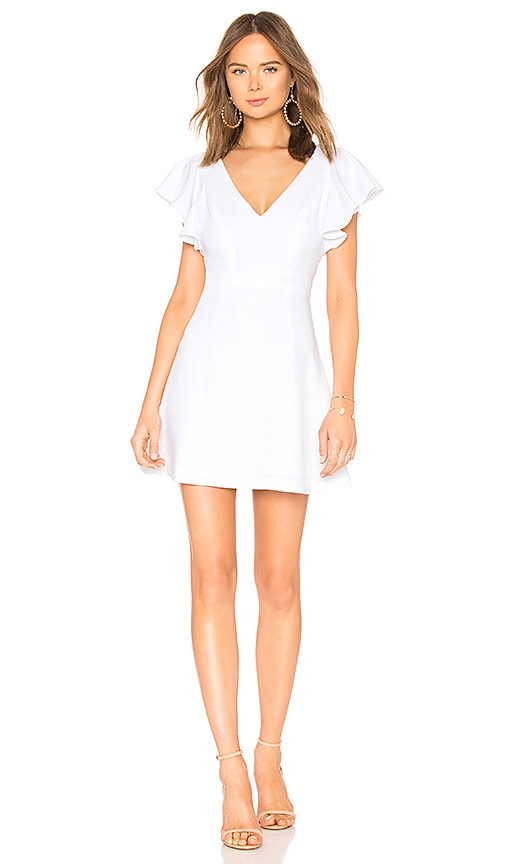 9bb40452f62 BCBGeneration Deep V Ruffle Sleeve Dress In Optic White in Optic ...