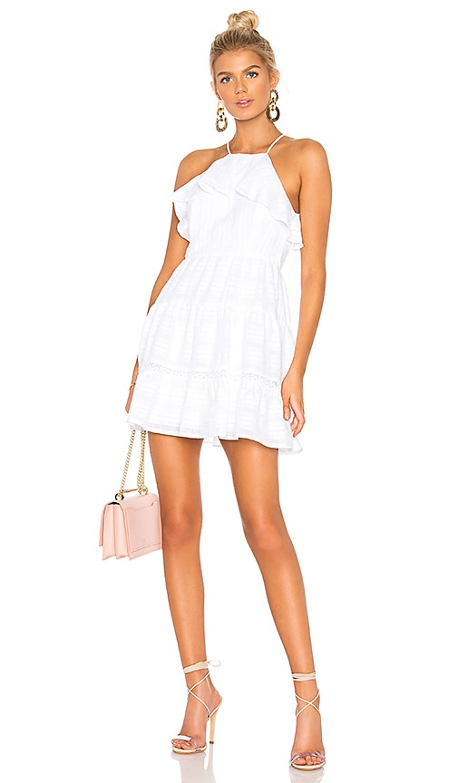 1f90c89e182 BCBGeneration Halter Ruffle Dress in Optic White