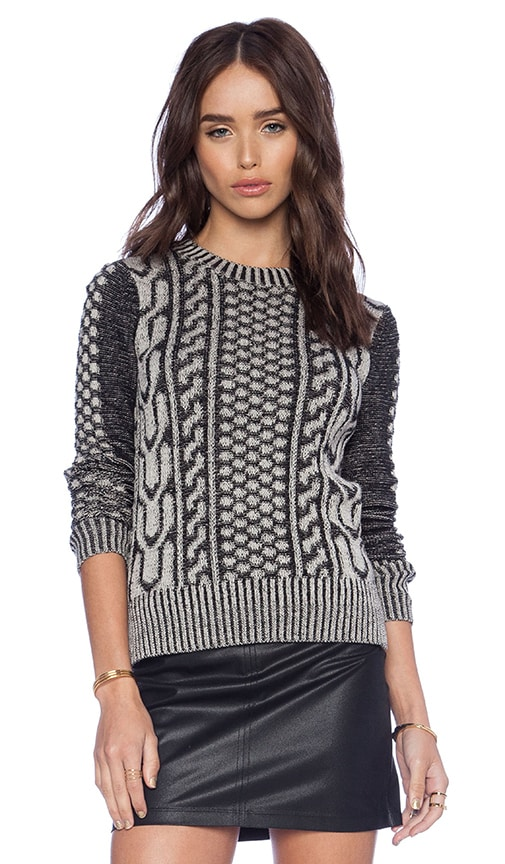 Plaited Faux Cable Sweater