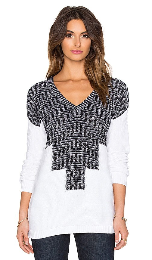 BCBGeneration Patterned Sweater in Black & White