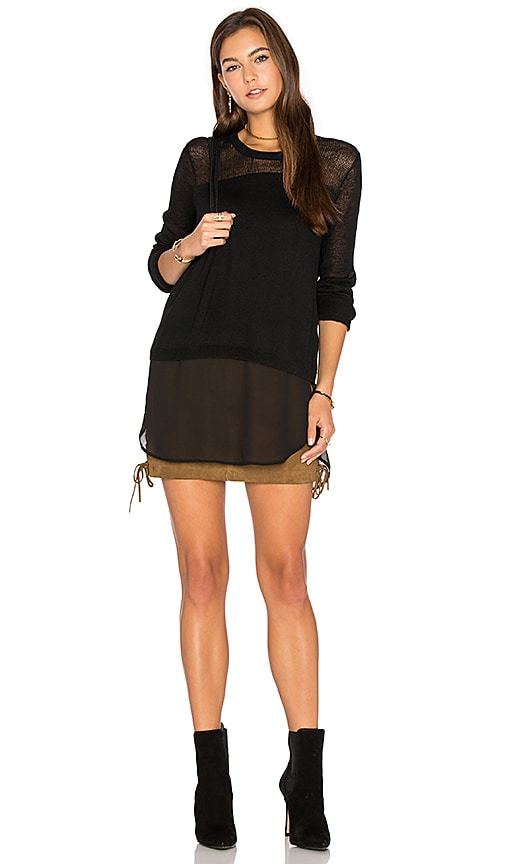 BCBGeneration Sheer Blocking Sweater in Black