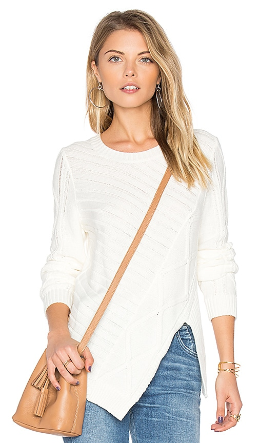 BCBGeneration Cable Pullover in White