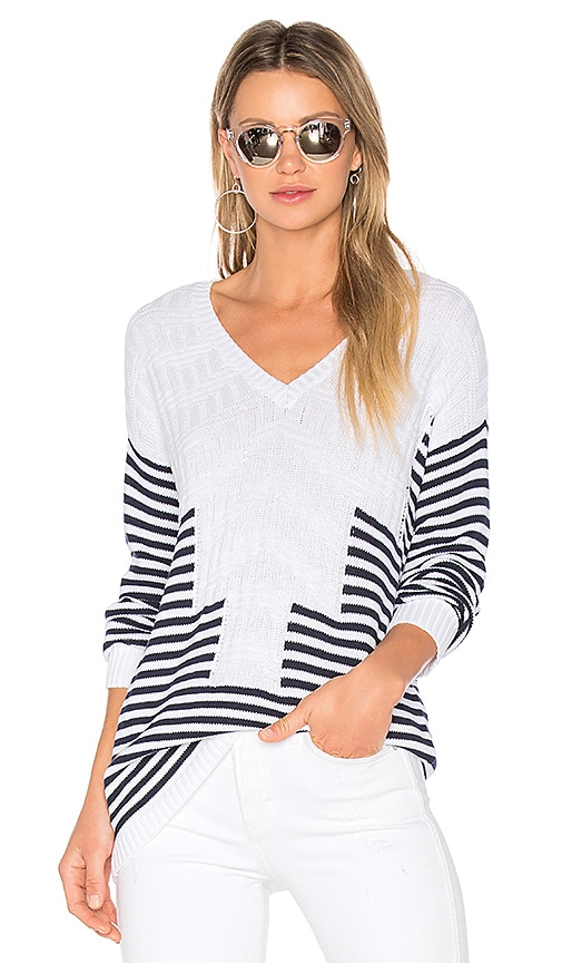 BCBGeneration Striped Sweater in White