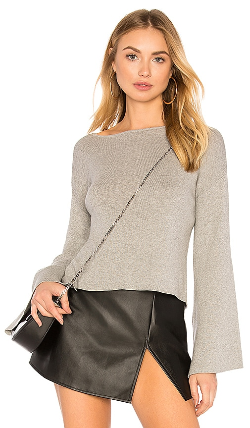 BCBGeneration Ribbed Cross Back Crop Sweater In Light Heather Grey