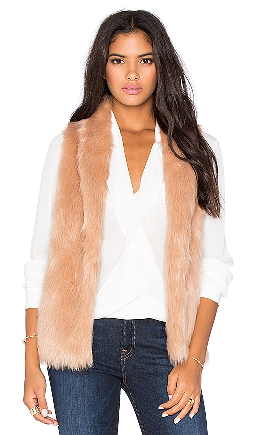 BCBGeneration Faux Fur Vest in Blush