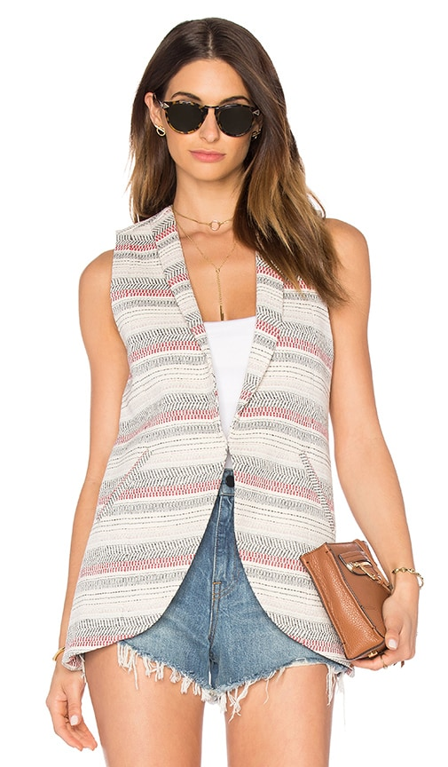 BCBGeneration Crochet Stripe Sleeveless Blazer in Ivory