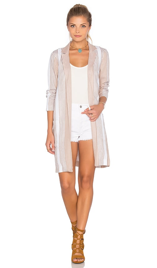 BCBGeneration Elongated Stripe Blazer in Tan
