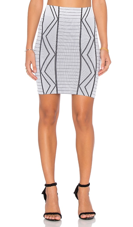 BCBGeneration Geometric Mini Skirt in White