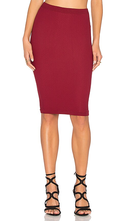 BCBGeneration Seamless Midi Skirt in Red