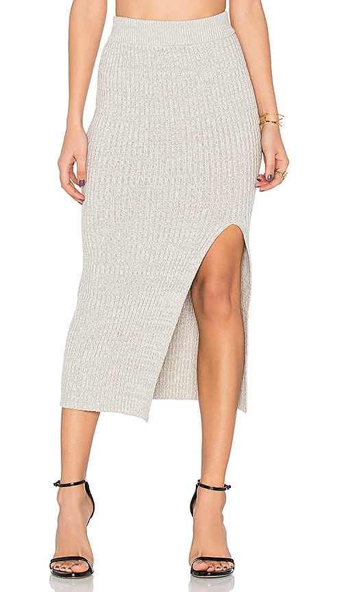 BCBGeneration Rib Slit Skirt in Gray