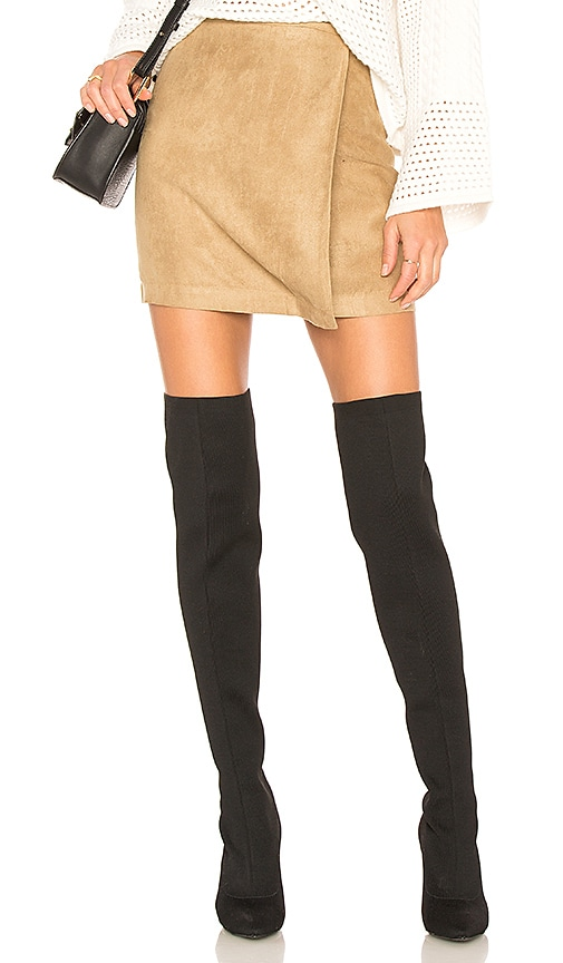 BCBGeneration A Line Faux Suede Skirt in Tan